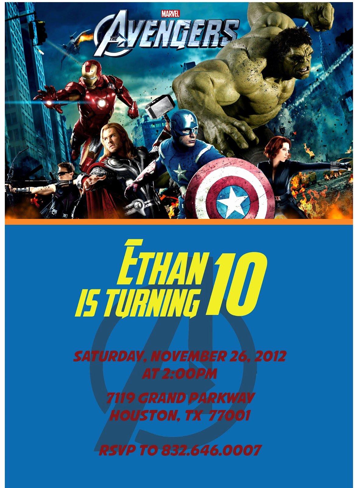 Avenger Birthday Party Invitations Fresh 3 Monkeys and More Avengers Birthday Invitations