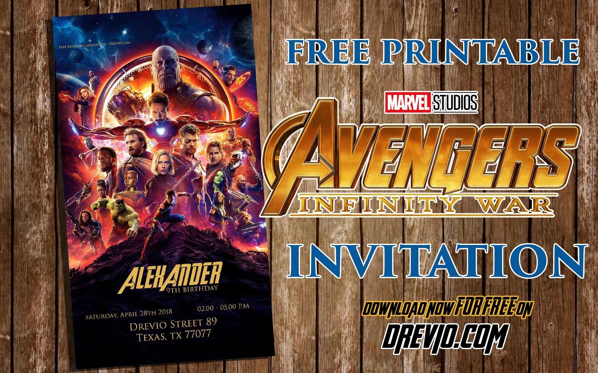 Avenger Birthday Party Invitations Fresh Free Printable Avengers Infinity Wars Birthday Invitation