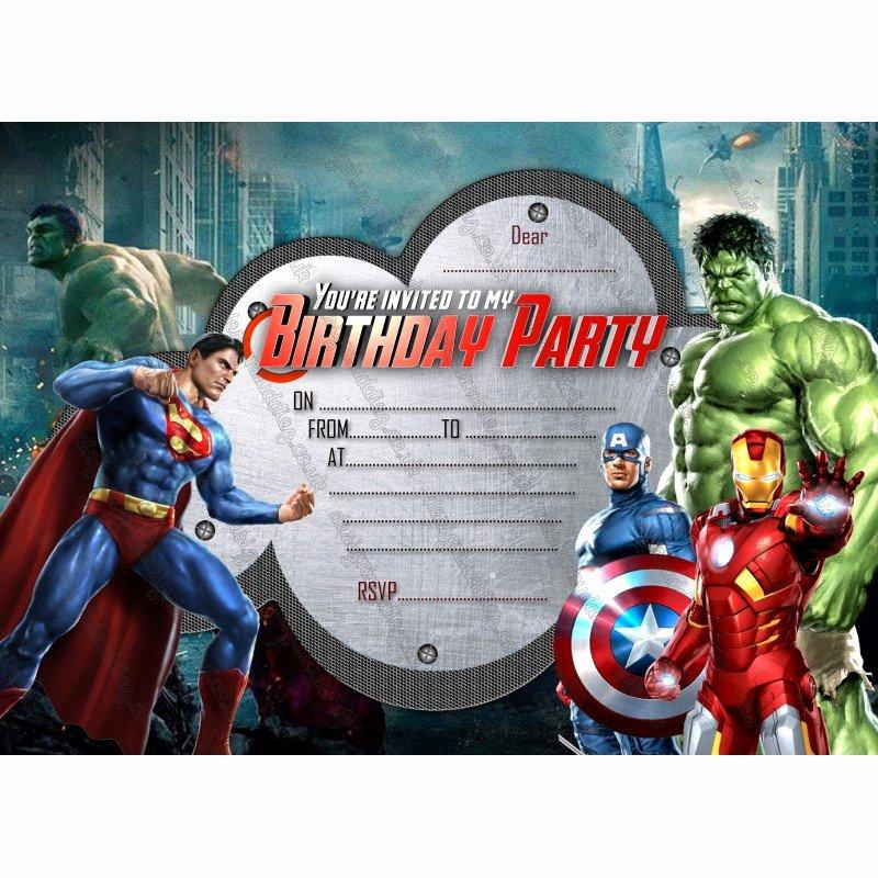 Avenger Birthday Party Invitations Inspirational Party Invitations Avengers Super Hero Marvel Hero