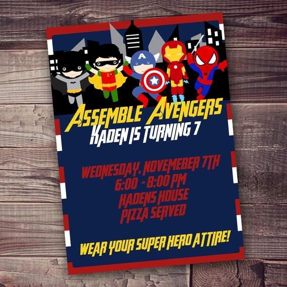 avengers invitation digital free wording