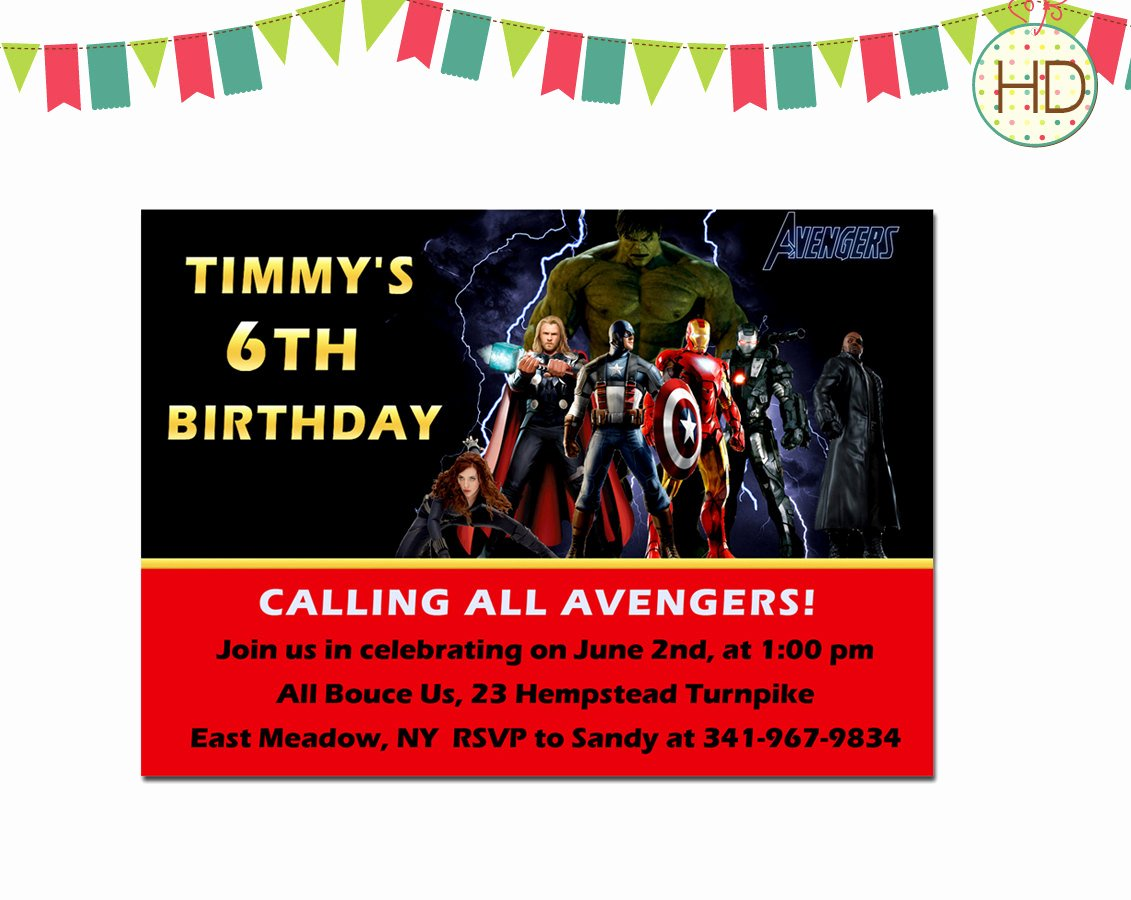 Avenger Birthday Party Invitations Unique Avengers Birthday Invitation Avengers Superhero by