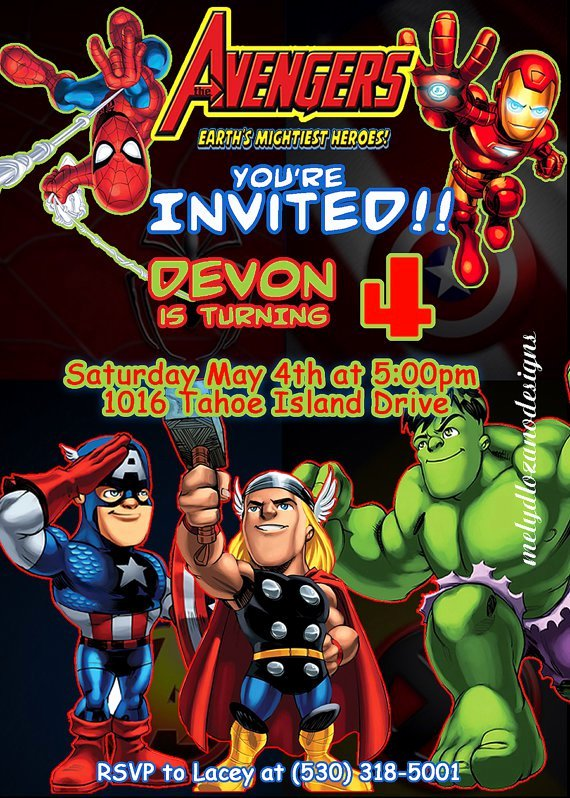 Avenger Birthday Party Invitations Unique Marvel Avengers Birthday Invitations