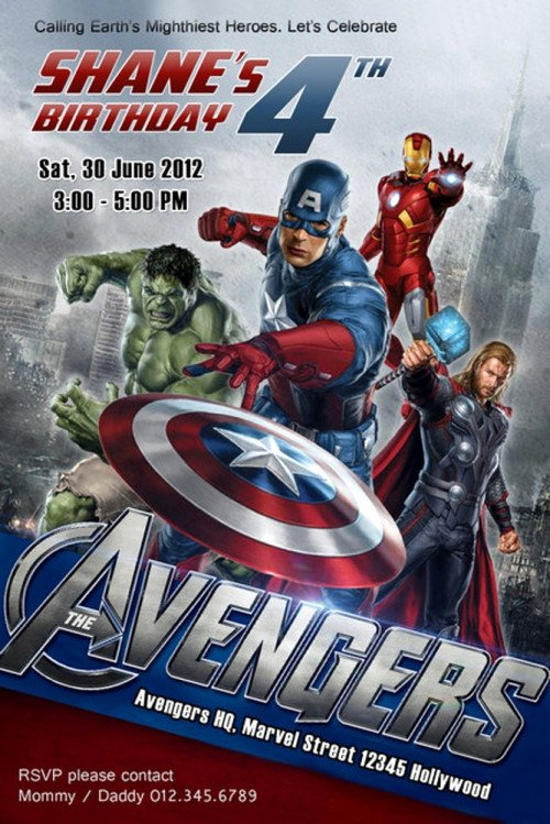 Avengers Birthday Invitations Custom Awesome Personalized Avengers Birthday Party Invitation 4x6