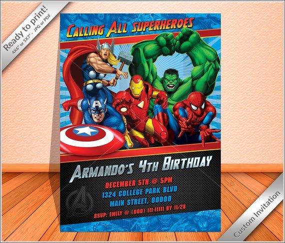 Avengers Birthday Invitations Custom Best Of Personalized Invitation Avengers Super Heroes Birthday