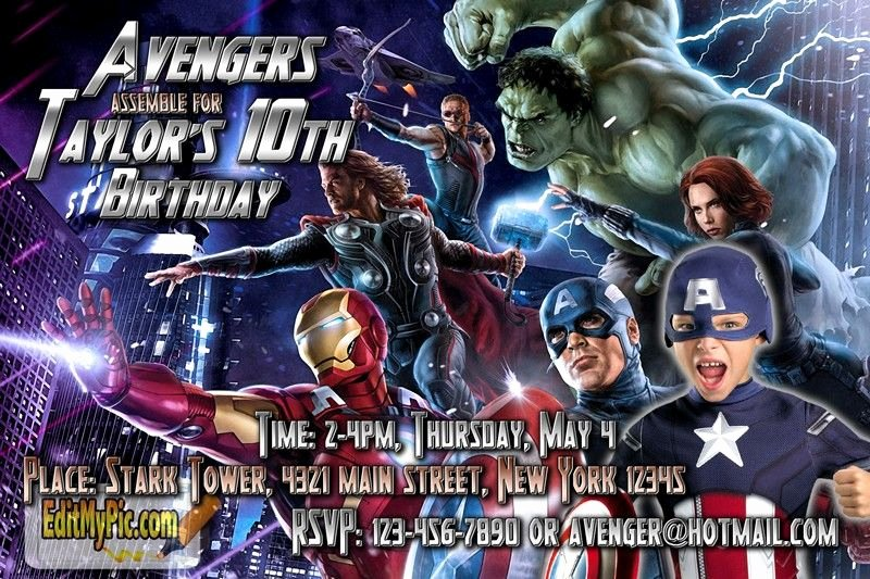 Avengers Birthday Invitations Custom Inspirational Pin by Editmypic On Customized Printable Birthday