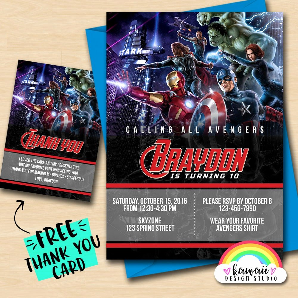 Avengers Birthday Invitations Custom Lovely Avengers Invitation Avengers Birthday Custom Invitation