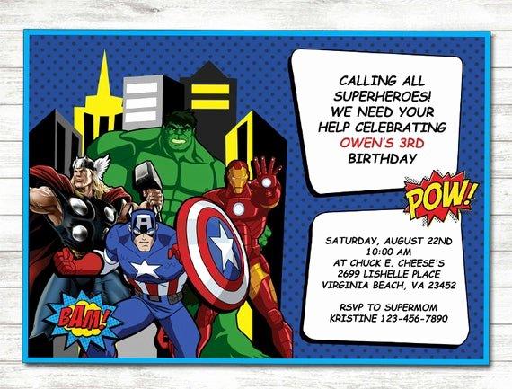 Avengers Birthday Invitations Custom Luxury Avengers Birthday Invitation Avengers Printable by
