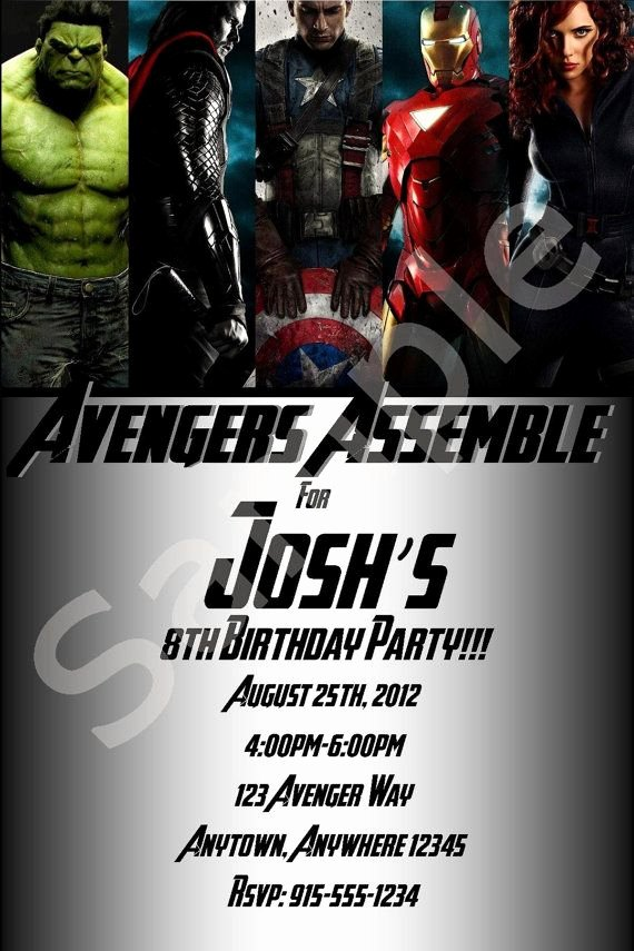 Avengers Birthday Invitations Custom Luxury Custom Avengers Birthday Invitations