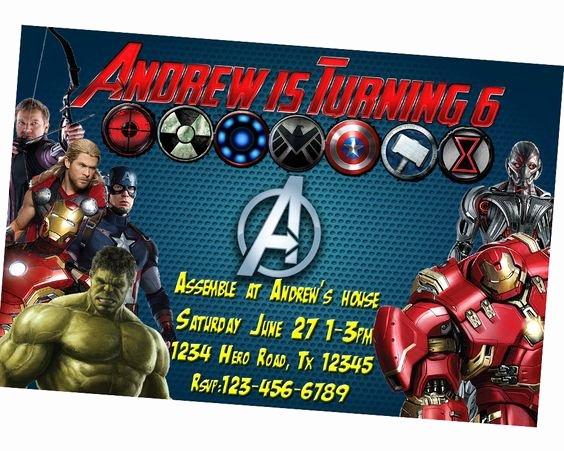 Avengers Birthday Invitations Custom New Avengers Invitation Personalized Captain America Birthday