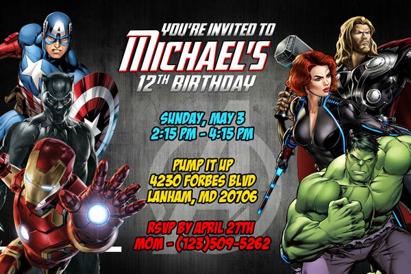 Avengers Birthday Invitations Custom New Avengers Invitations Superhero Printable