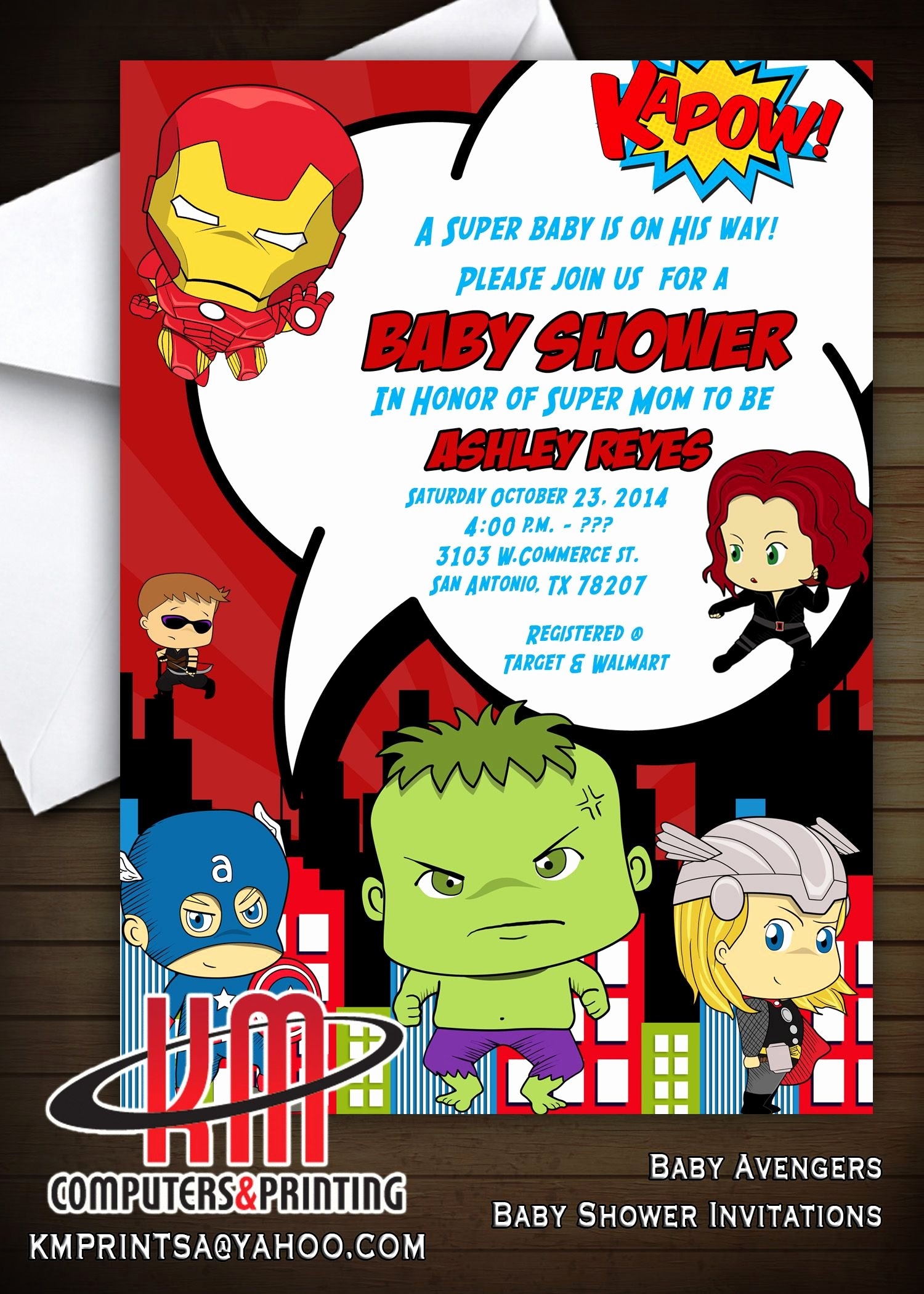 Avengers Birthday Invitations Custom New Baby Avengers Invitations Digital or Printed Available for