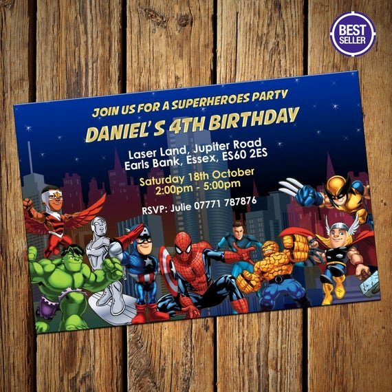 avengers superheroes party invitations