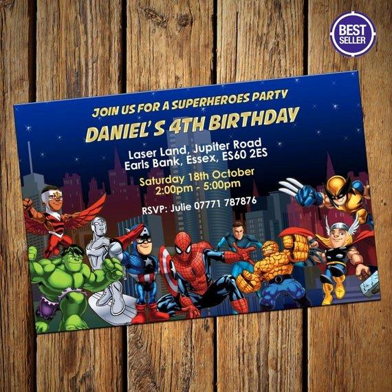 avengers superheroes party invitations