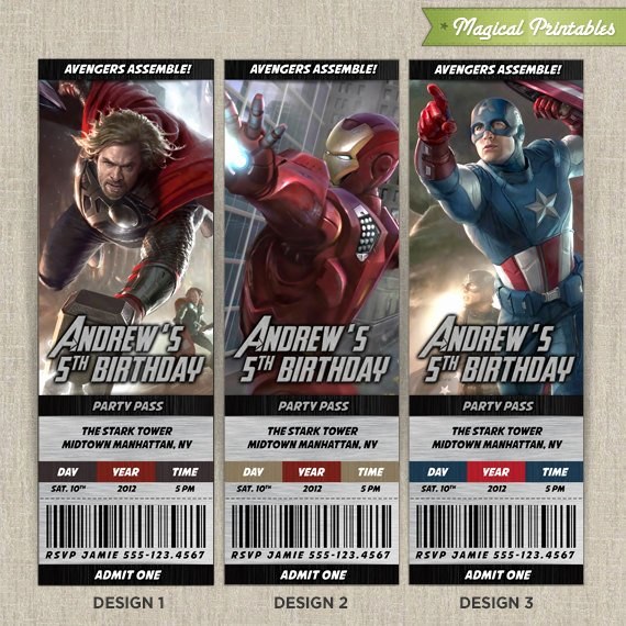 Avengers Birthday Invitations Custom New Personalized Avengers Birthday Ticket Invitation Card