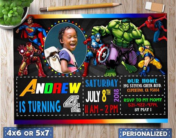 Avengers Birthday Invitations Custom New Superhero Invitation Marvel Invitations Superheros Avengers