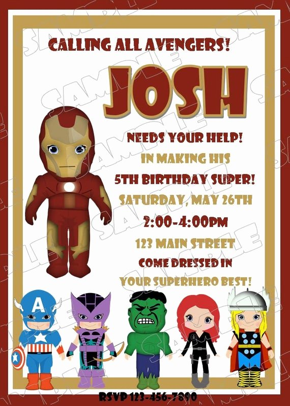 Avengers Birthday Invitations Custom Unique Items Similar to Avengers Iron Man Inspired Birthday Party