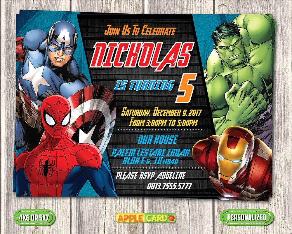 Avengers Invitations Template Free Awesome Avengers Birthday Invitation Avengers Invitation Card