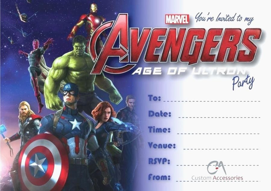 Avengers Invitations Template Free Beautiful Amazing Avengers Party Invitations Printable Free