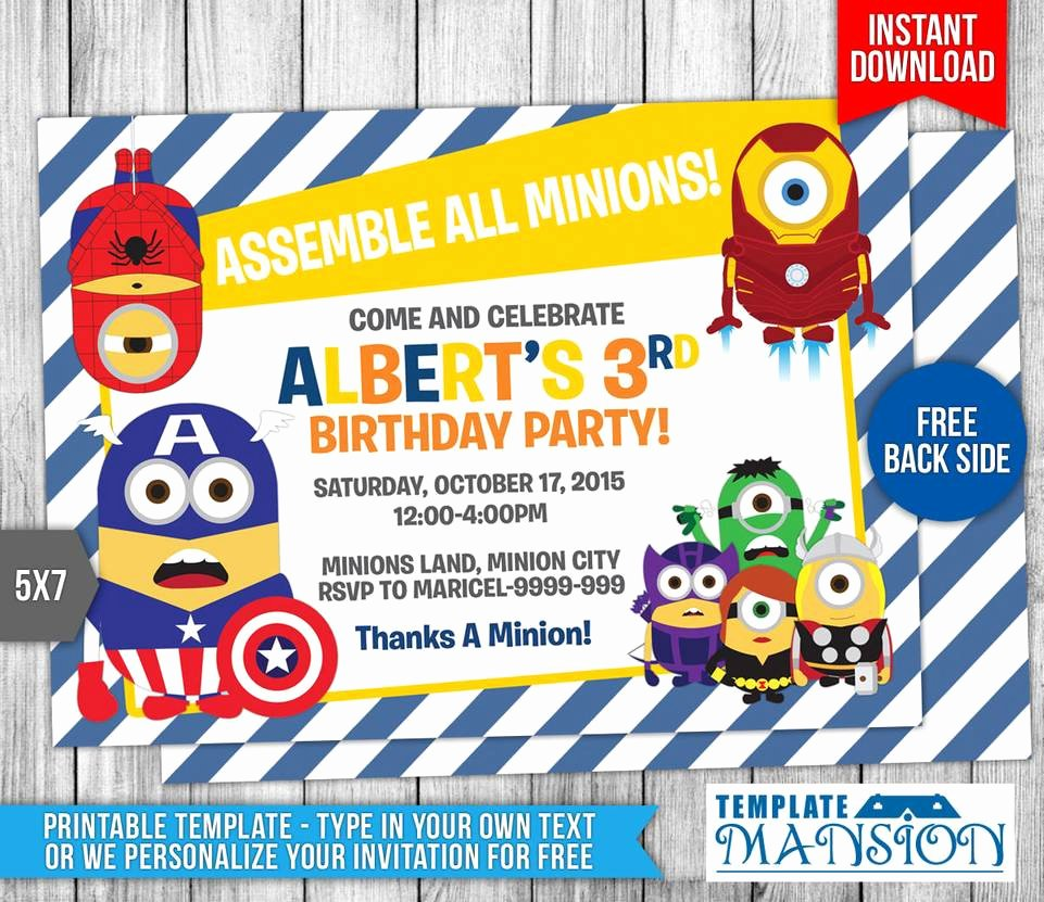 Avengers Invitations Template Free Best Of Minions Avengers Birthday Invitation Template 9 by