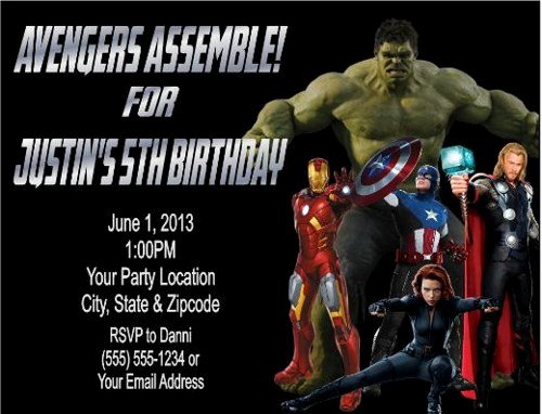 Avengers Invitations Template Free Elegant Avengers Birthday Party Invitations Personalized Custom