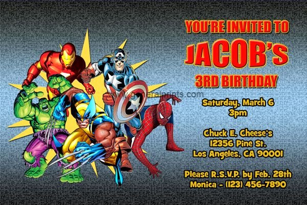 Avengers Invitations Template Free Luxury Superhero Birthday Invitations with S