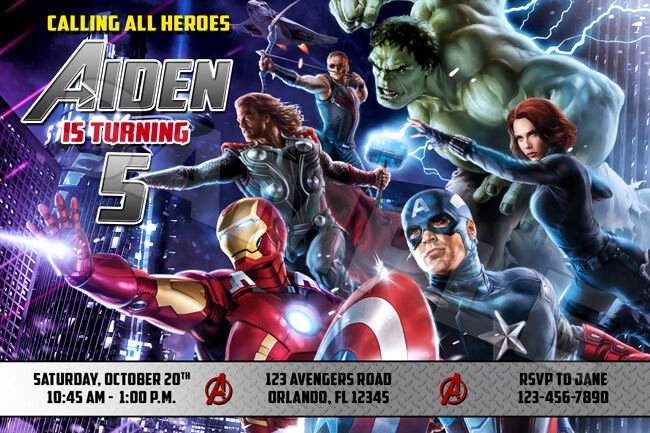 Avengers Invitations Template Free Unique Avengers assemble Superheroes Thor Hulk Ironman Birthday