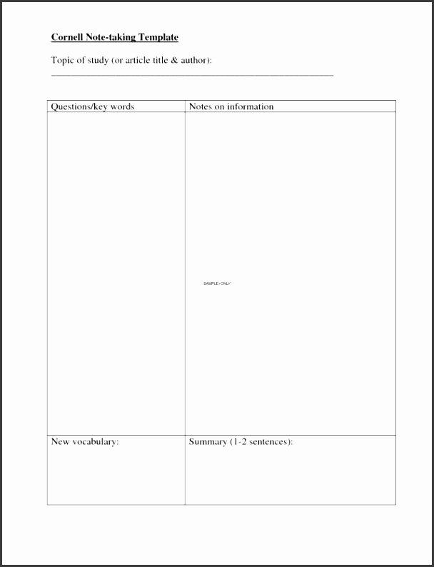 Avid Cornell Note Template Elegant 9 Cornell Note Taking Template Sampletemplatess