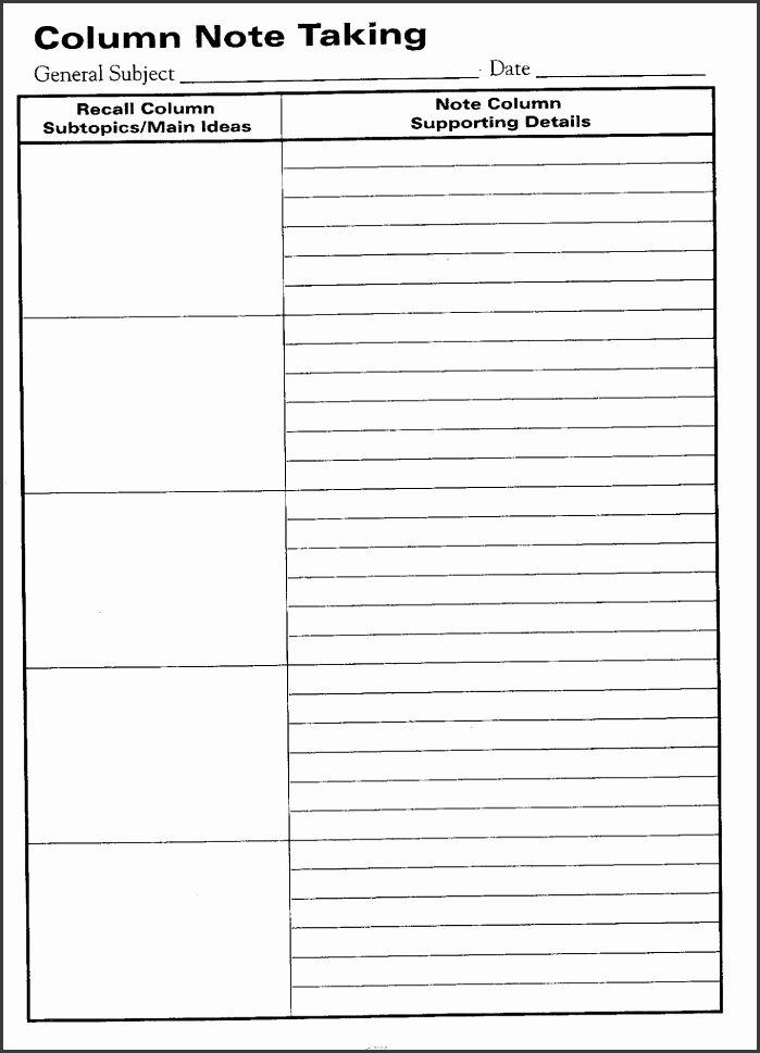 Avid Cornell Note Template Unique 7 Cornell Note Word Template Sampletemplatess