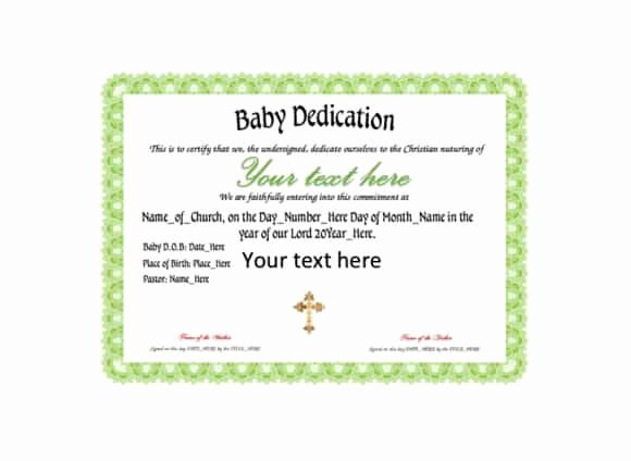 Baby Blessing Certificate Template Elegant 50 Free Baby Dedication Certificate Templates Printable