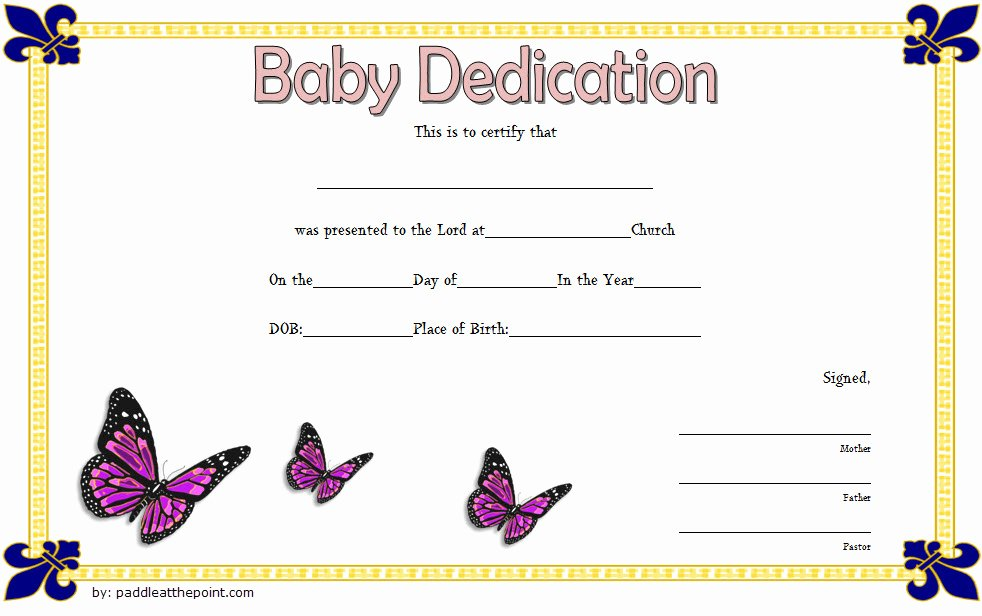 Baby Blessing Certificate Template Elegant 7 Free Printable Baby Dedication Certificate Templates Free