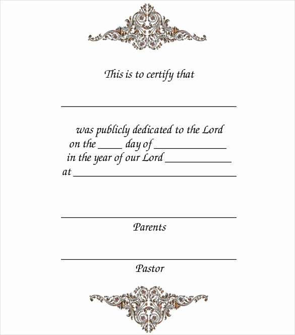 Baby Blessing Certificate Template Fresh 14 Baby Certificate Templates