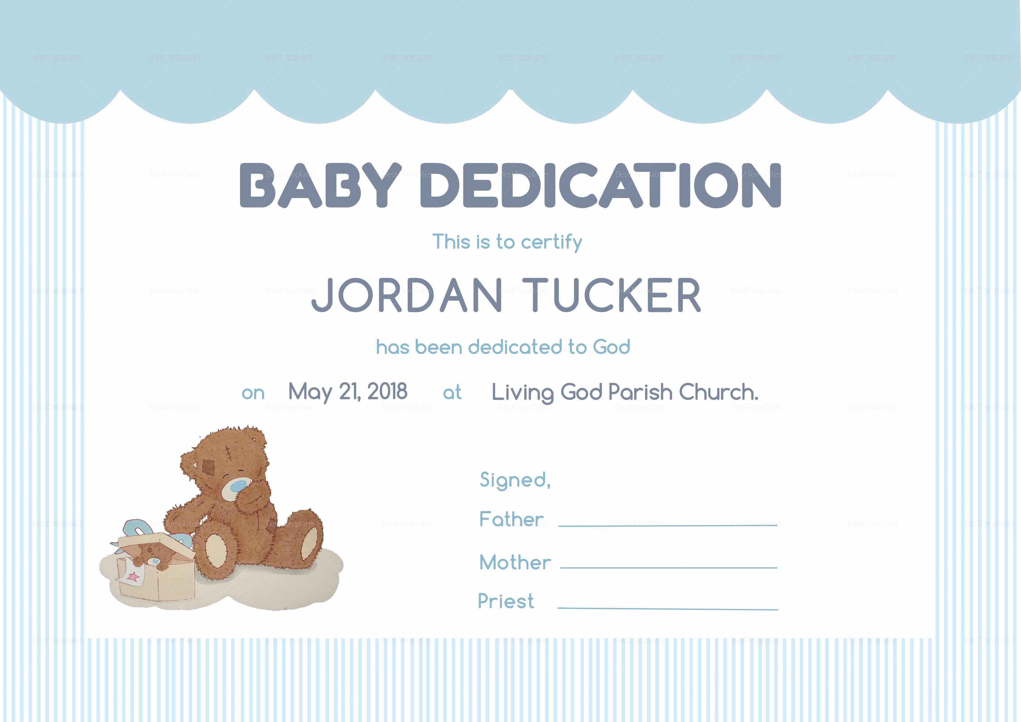 Baby Blessing Certificate Template Inspirational Child Dedication Certificate Clean Baby Dedication