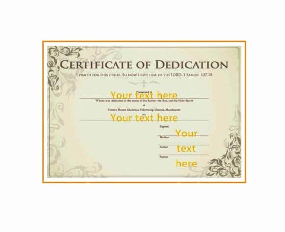 Baby Blessing Certificate Template New 50 Free Baby Dedication Certificate Templates Printable