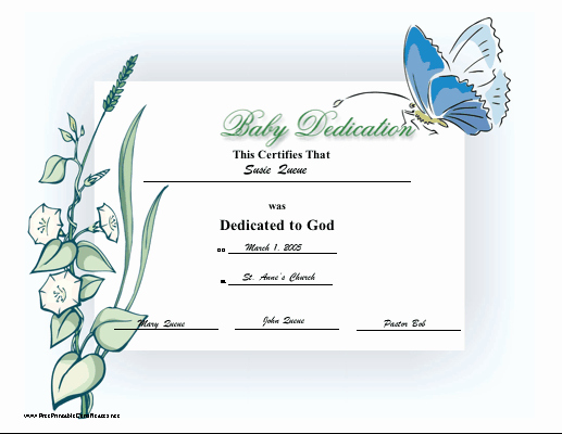 Baby Blessing Certificate Template Unique Baby Dedication Certificate Printable Certificate