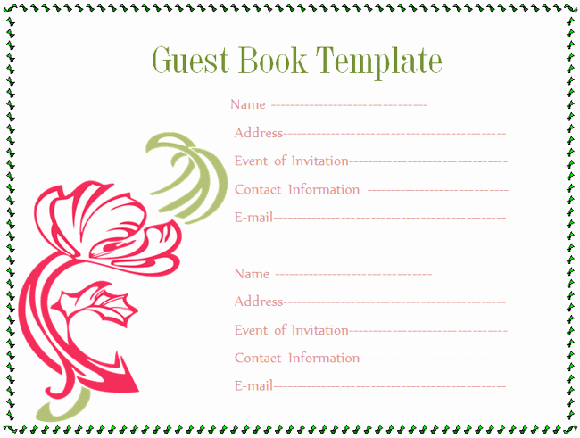 Baby Book Template Pages Fresh Guest Book Template Microsoft Word Templates
