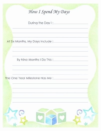 """Baby Book Template Pages Inspirational Free Printable Baby Book Page """"how I Spend My Days"""