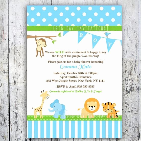 Baby Boy Invitations Free Best Of Safari Baby Shower Invitations Jungle Animal theme Printable