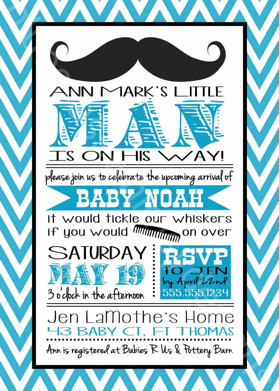 Baby Boy Invitations Free Elegant Mustache Little Man Baby Shower Invitation for A Baby Boy
