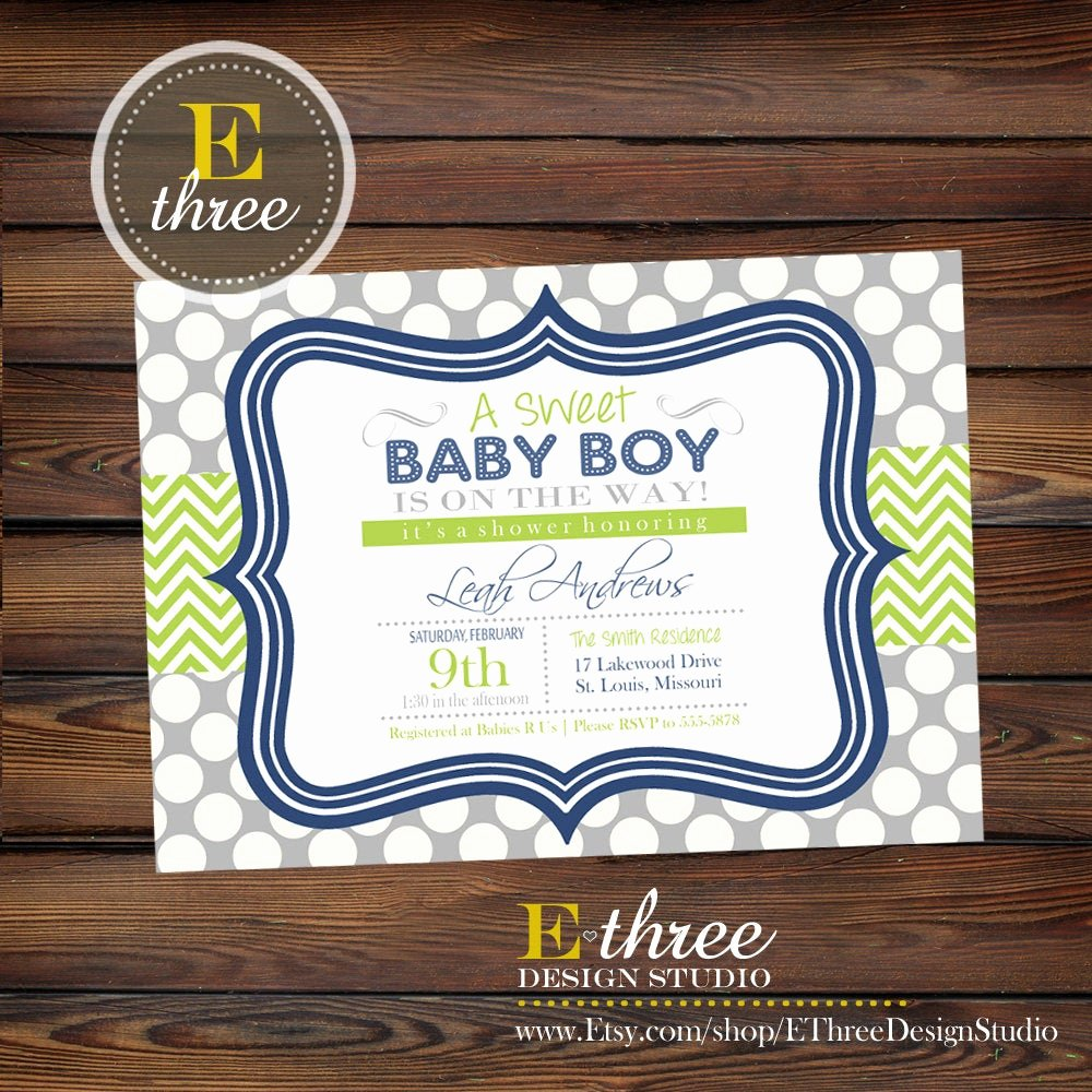 Baby Boy Invitations Free Fresh Navy Blue and Green Boy S Baby Shower Invitation Baby