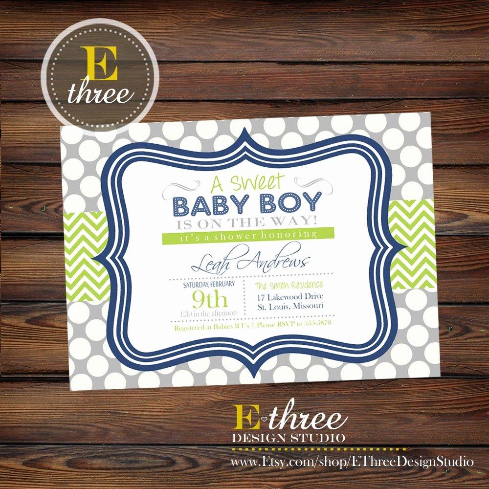 Baby Boy Invitations Free Fresh Navy Blue and Green Boy S Baby Shower Invitation Baby