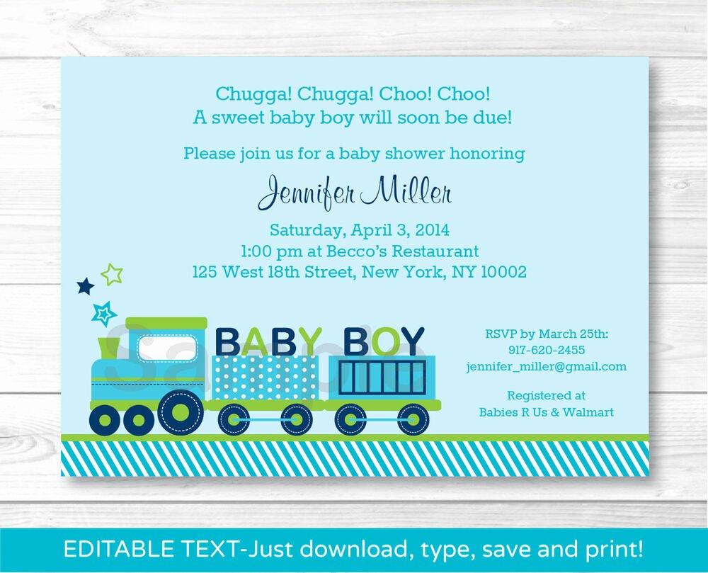 Baby Boy Invitations Free Inspirational Green Choo Choo Train Baby Boy Printable Baby Shower