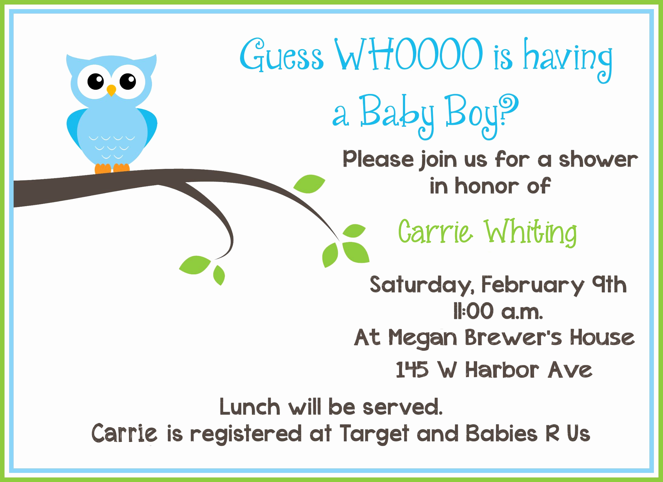 Baby Boy Invitations Free Lovely Free Printable Owl Baby Shower Invitations Sample