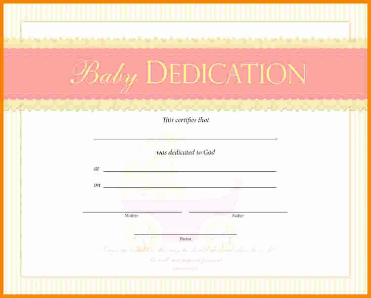 Baby Dedication Certificate Beautiful Baby Dedication Certificate