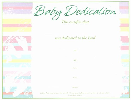 Baby Dedication Certificate Inspirational Baby Dedication Certificate Pack Of 6 Green Embossed