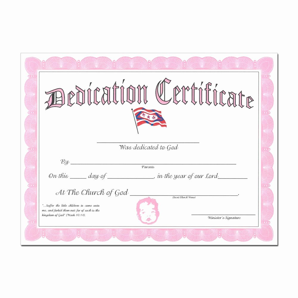 Baby Dedication Certificate New Baby Dedication Certificate