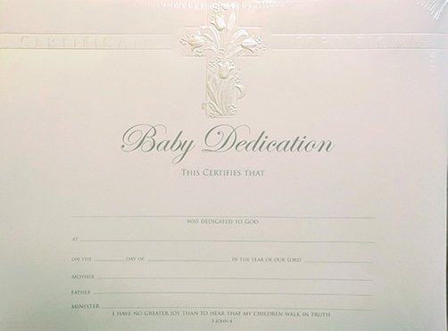 Baby Dedication Certificate New Baby Dedication Certificate Pack Of 6 Pearl Foil