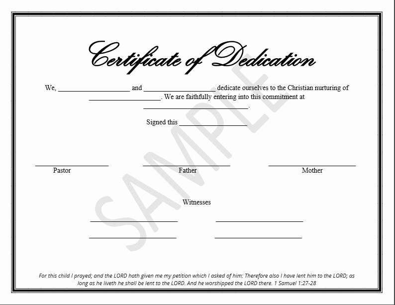 Baby Dedication Certificate New Printable Child Dedication Certificate Templates the