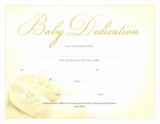 Baby Dedication Certificate Templates Beautiful Printable Baby Dedication Certificate