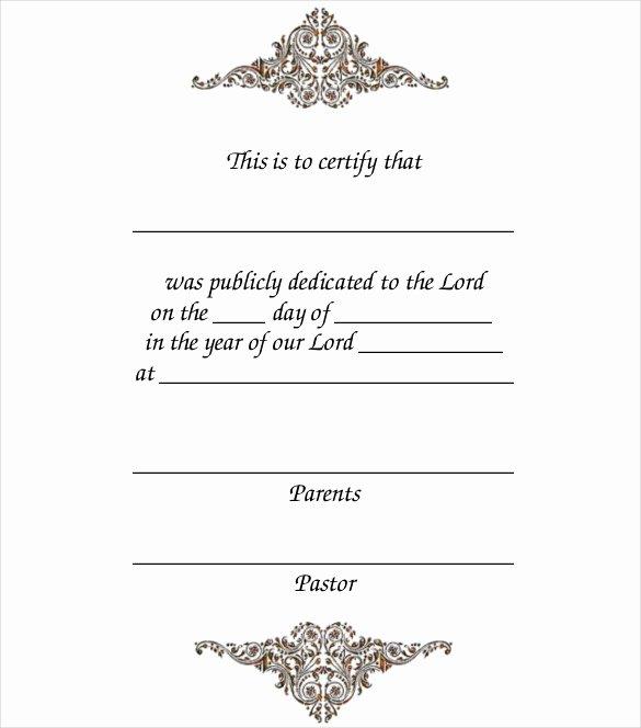 Baby Dedication Certificate Templates Elegant 14 Baby Certificate Templates