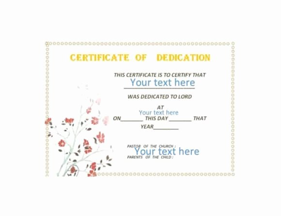 Baby Dedication Certificate Templates Lovely 50 Free Baby Dedication Certificate Templates Printable